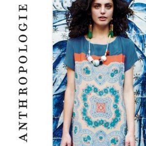 Anthropologie Meadow Rue Calcada Silk Shift Dress